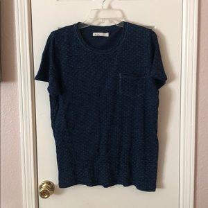Madewell Hi-Line Blue Printed Pocket Tee T-shirt